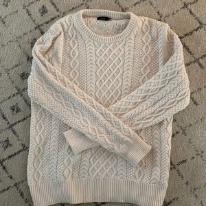 J.Crew White Cable-Knit Sweater